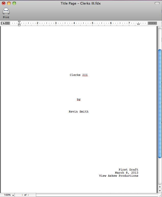 Kevin Smith Begins Clerks 3 Screenplay and Shares Title Page on Facebook