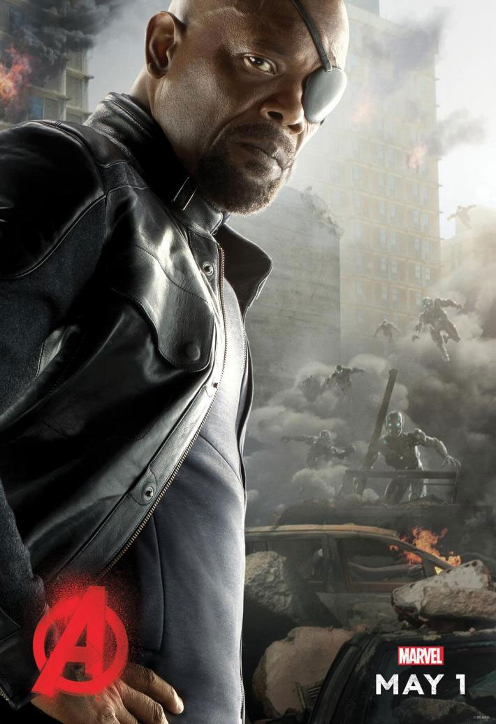 Iron man and hulk avengers age of ultron posters joined by nick fury